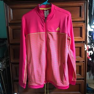 Pink & Yellow Striped Adidas Athletic Jacket